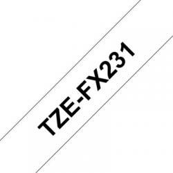 Brother TZEFX231 Blanco/Negro(flexibles) 12mm - Imagen 1